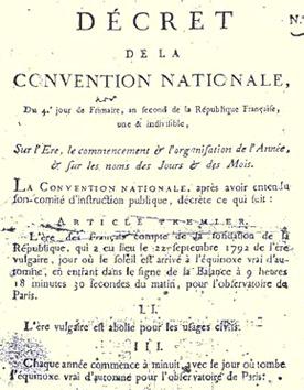 Calendrier Republicain 1793.Decreet Over De Republikeinse Kalender 1793 Republikanisme